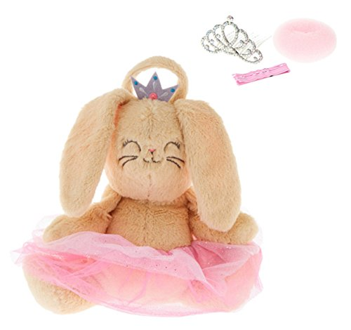 Ballerina Princess Bunny Plush Backpack and Tiara with Donut Bun for Toddler ideas for Dance Recital Gift