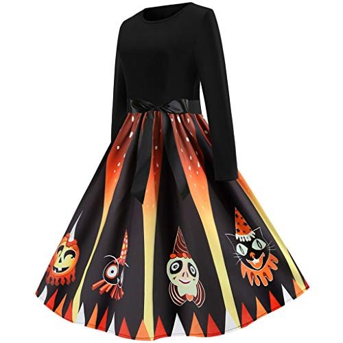 Women Vintage Long Sleeve Halloween 50s Housewife Evening Party Prom Dress
