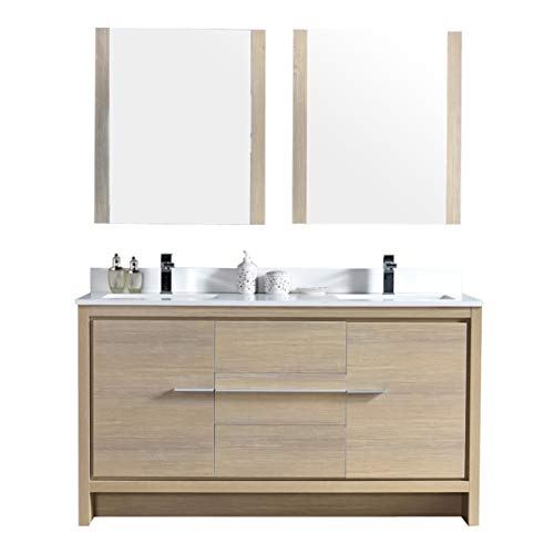 "Blossom Milan 60"" Inches Double Bathroom Vanity, MDF, Quartz Countertop, Undermount Ceramic Sink with Mirror Briccole Oak 014 60 16 M"