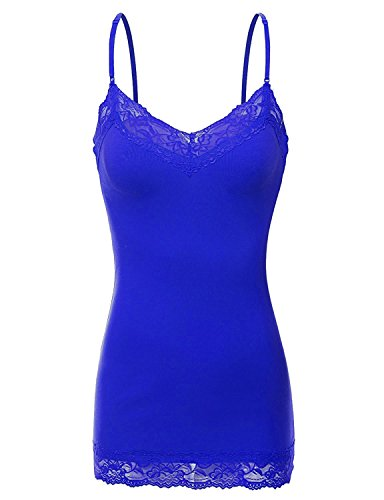 RT1004 Ladies Adjustable Spaghetti Strap Lace Trim Long Tunic Cami Tank Top Royal L