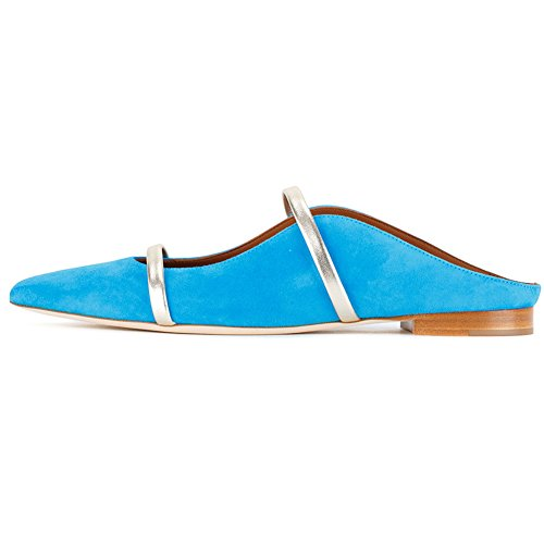 Comfity Mules for Women, Pointed Toe Slippers Two Narrow Single Band Slides Backless Dress Flats Blue