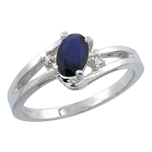 14K White Gold Diamond Natural Quality Blue Sapphire Engagement Ring Oval 6x4 mm, size 10 (14k 6x4mm Oval Sapphire Ring)