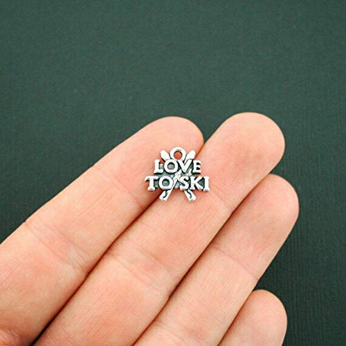 Pendant Jewelry Making for Bracelets and Chains 4 Love to Ski Charms Antique Silver Tone - SC5500