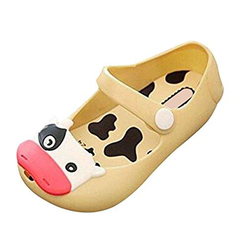 Zhuhaixmy Baby Mädchen Jungen Kühe Weich Gelee Fisch Mund Anti-Rutsch Lässige Schuhe Kleinkind Kinder Strand Sandalen Regen Stiefel Gelb