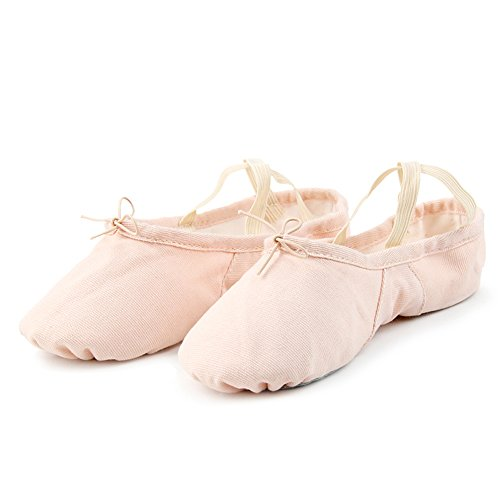 DANCE YOU 1104-1 Adjustable Split Sole Canvas Ballet Shoes for Women Big Girls, Pink, Size 6M~6.5M/230mm
