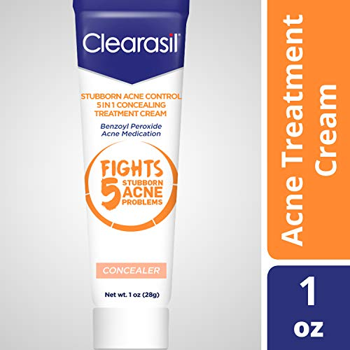 Clearasil Stubborn Acne Control 5 in 1 Concealing Treatment Cream, Medicated Benzoyl Peroxide Acne Treatment Fights Blocked Pores, Pimple Size, Excess Oil, Acne Marks & Blackheads, 1 oz.