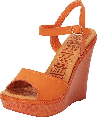 Cambridge Select Women's Classic Open Toe Chunky Platform Wedge Sandal,8 B(M) US,Tan PU