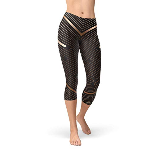 Chocolate Brown Capri Leggings for Women Stripped Lines Squat Proof Workout Capris