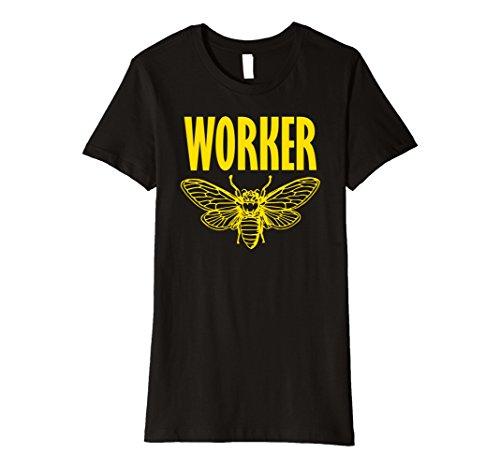 Worker Bee Costume (Womens WORKER BEE Funny Bug Lover Beekeeper Halloween Costume Shirt Medium Black)