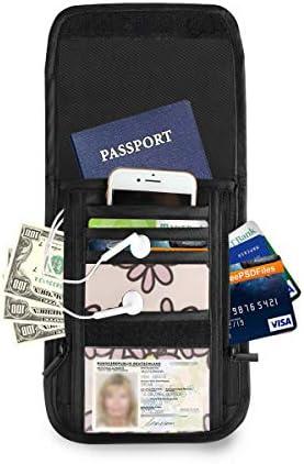 花柄 パスポートホルダー セキュリティケース パスポートケース スキミング防止 首下げ トラベルポーチ ネックホルダー 貴重品入れ カードバッグ スマホ 多機能収納ポケット 防水 軽量 海外旅行 出張 ビジネス
