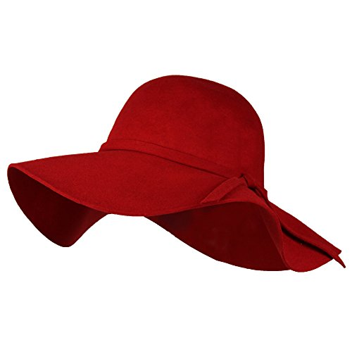 Red 100% Wool Felt Winter Floppy Hat w/ Wide Brim – Vintage Boho Bowler Fedora Classic Red Felt Hat
