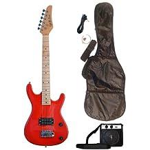 RED Junior Kids Mini 3/4 Electric Guitar Amp Starter Pack, Guitar, Temolo, Amplifier, Gig Bag, Strap, Cable, & DirectlyCheap(TM) Translucent Blue Medium Guitar Pick