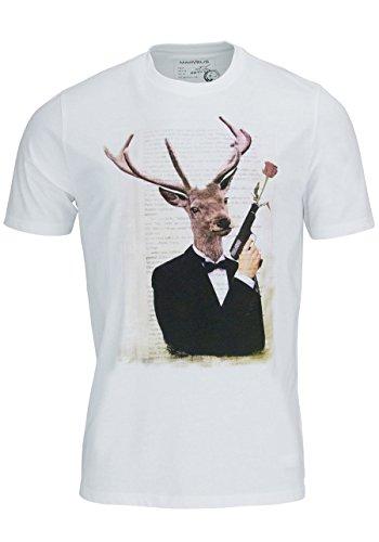 MARVELIS T-Shirt Kurzarm Gentleman Rundhals mit Frontprint weiß
