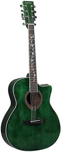 ギター アコースティックギターフォーク国41インチソリッドウッドベニヤギター 入門 ギター (Color : Green, Size : 41 inches)