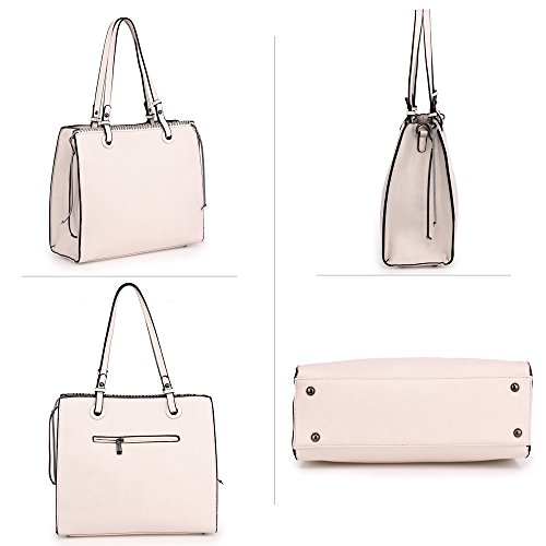 Unique 2 Handbag Leather Look Gorgeous Design For Bag Design Shoulder Faux Zipper Designer Beige Front Women Large Style New Ladies Handbag WFOgHnwq