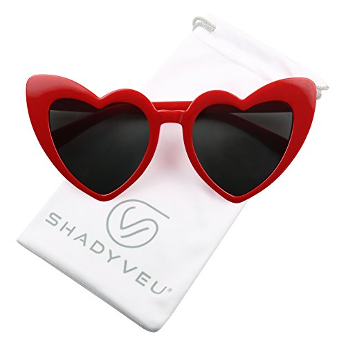 c0a243c521972 ShadyVEU - Chunky Love Heart Shaped Colorful Oversize High Tip Cute  Sunglasses (Red Frame