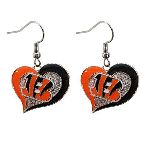 Aminco NFL Heart Swirl Dangling Earrings Cincinnati Bengals (Bengals Charm Cincinnati)