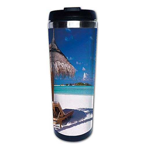 Stainless Steel Insulated Coffee Travel Mug,Honeymoon Themed Beach Seashore Ocean Print,White,Spill Proof Flip Lid Insulated Coffee cup Keeps Hot or Cold 13.6oz(400 ml) Customizable printing