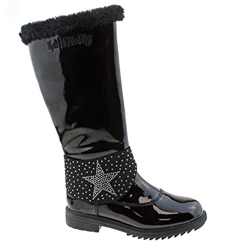 Alto Vernice Lined Black Lelli Boots UK 12 LK7642 High Betty Db01 30 Kelly Fur zzUwqI0