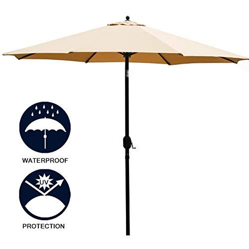 Sunnyglade 11Ft Patio Umbrella Garden Canopy Outdoor Table Market Umbrella with Tilt and Crank (Tan)