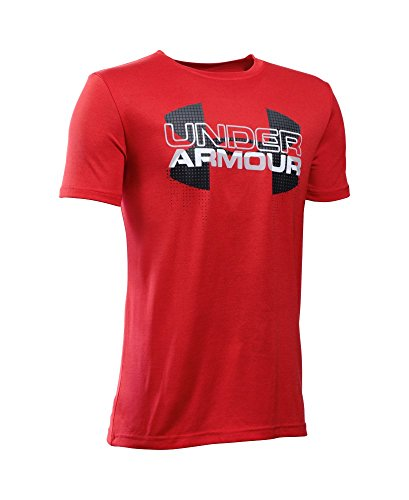 Under Armour Boys' Tech Big Logo Hybrid T-Shirt, Red (602), Youth X-Large