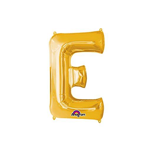 Regina 106473.8, Balão Metalizado Super Shape Letra E Pack, Dourado