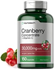 Horbaach Cranberry (30,000 mg) + Vitamin C 150 Capsules   Triple Strength Ultimate Potency   Non-GMO, Gluten Free Cranberry Pills Supplement from Concentrate Extract