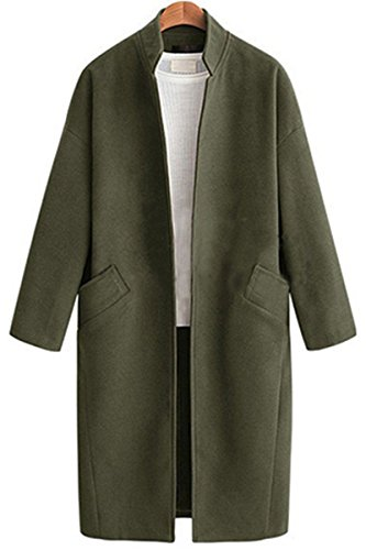 DYF Capa de color sólido Collar de gran tamaño bolsillo manga larga longitud mediana,verde militar,4XL