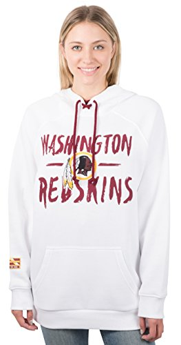 Ultra Game Women's NFL Fleece Hoodie Pullover Sweatshirt Tie Neck, Washington Redskins, White, Small