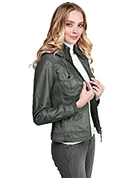 MBE Women's Faux Leather Rider Jacket With Detachable Hood Various Colors
