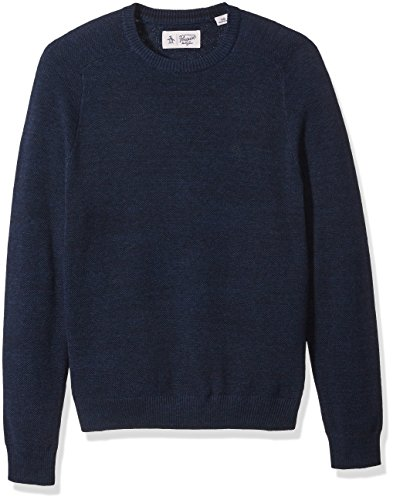 Original Penguin Men's Long Sleeve Honeycomb Pique Crew Neck Sweater, Vintage Indigo, ()