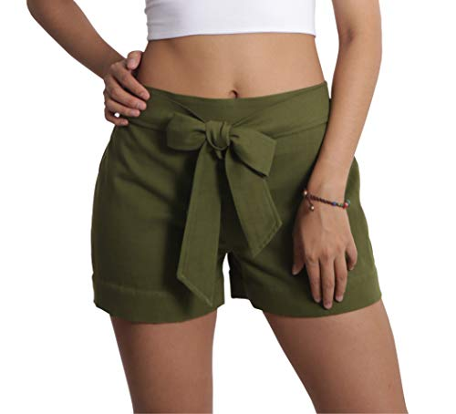 (Tropic Bliss Organic Cotton Tie Shorts for Women, Hand Dyed, Comfy Boho Style (XX-Large, Green))