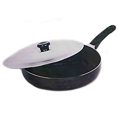Special valentine day gift,Aluminum Cookware Deep Fry Pan with Lid Non-Stick Fry Pan, Free Scrubber & Pastic Paddle, Black Color Size 9 X 9 Inch