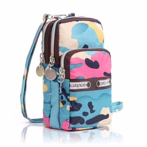 XENO-Mini Fashion Pattern Zipper Sport Shoulder Bag Wrist Purse For iPhone & Samsung(camouflage)