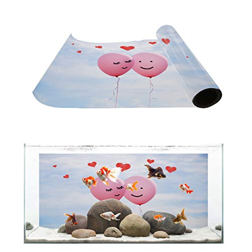 (Fantasy Star Aquarium Background Couple Balloons on The Sky Fish Tank Wallpaper Easy to Apply and Remove PVC Sticker Pictures Poster Background Decoration 18.4