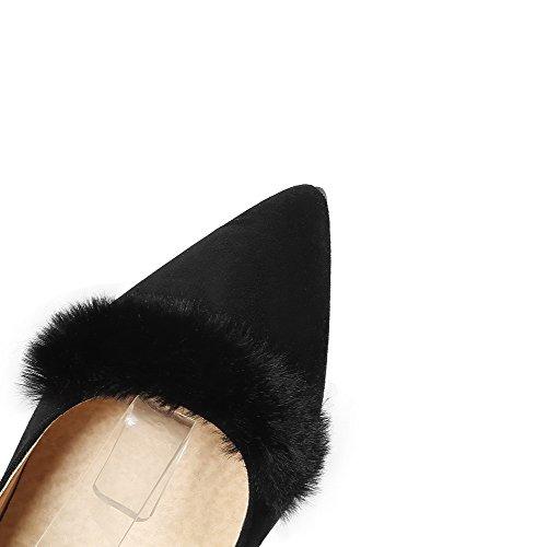 Odomolor Women's Pointed-Toe Buckle Soild Kitten-Heels Pumps-Shoes Black MTyxlzyt