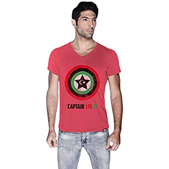 Creo Pink Cotton V Neck T-Shirt For Men