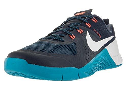 Nike Metcon 1 Zapatillas de deporte exterior, Hombre Azul / Blanco / Naranja (Mid Nvy/White-Bl Lgn-Hypr Orng)