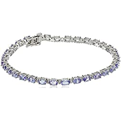 10k White Gold Oval Genuine Fashion Bracelet, 7.25""