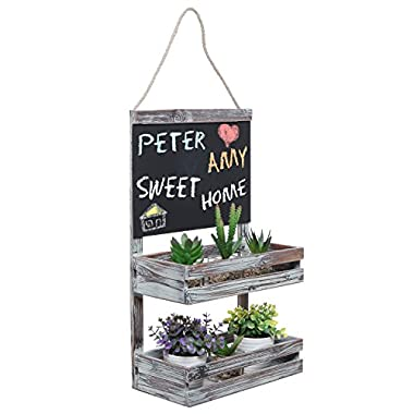 Hanging Country Rustic Brown Wood 2 Tier Plant / Flower Planter Pot Shelf Display Rack w/ Chalkboard Sign