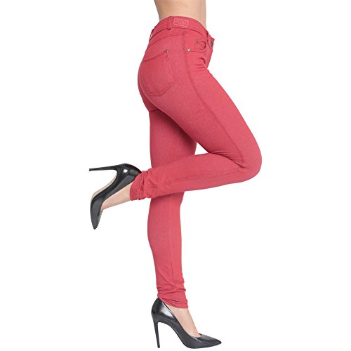 Summer Pencil 8 up Plus Apparel Coloured 26 Skinny Denim Trousers Red Leggings AK Stretch Womens Jeans Size UK Zip Fit Slim Casual Jeggings Pants 0SqOPAw