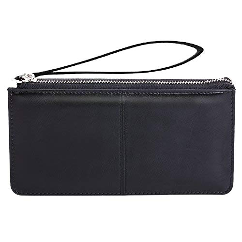 Bonaweite Women's Wristlet Clutches Leather Wallet Purse Cards Holder Black from Bonaweite
