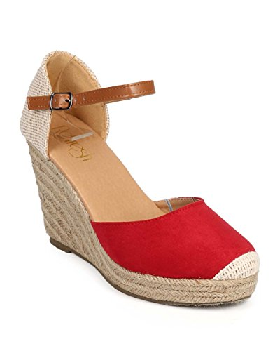 Red Fatigue Cap (Refresh DI93 Women Mix Media Cap Toe Ankle Strap Espadrille Wedge - Red (Size: 10))