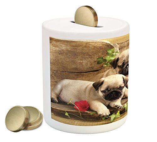 Ambesonne Pug Piggy Bank, Cute Sibling Puppies with Floral Arrangement in Front Wooden Backdrop, Printed Ceramic Coin Bank Money Box for Cash Saving, Eggshell Brown Fern Green