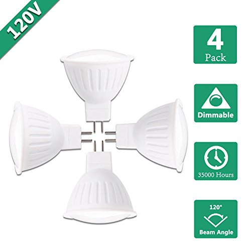 - 5W MR16 LED Spot lamp Bulb, 120Volts,50W Halogen Replacement, Dimmable, 2700K Warm White, 500 Lumens, 120° Beam Angle LED Spotlight, GU5.3 Base, Recessed,Track Lights, Kitchen Cabinet Lights -4 Packs