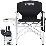 FUNDANGO Lightweight Folding Directors Chair Portable Camping Chairs Padded Full Back Aluminum Frame Lawn Chair with Armrest Side Table and Handle for Outdoor Sports Picnic (Black)