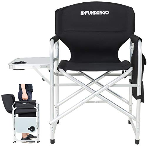 FUNDANGO Lightweight Folding Directors Chair Portable Camping Chairs Padded Full Back Aluminum Frame Lawn Chair with Armrest Side Table and Handle for Outdoor Sports Picnic Black