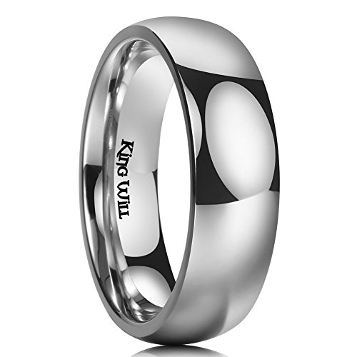 King Will 7MM Titanium Ring Domed Polished Comfort Fit Wedding Band for Men - Wedding Fit Band 7mm Comfort