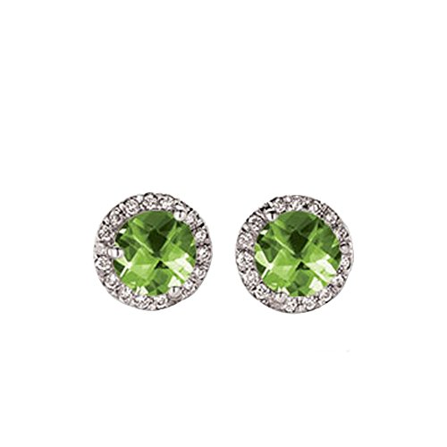10K White Gold Round Peridot & White Diamond Ladies Halo Stud Earrings