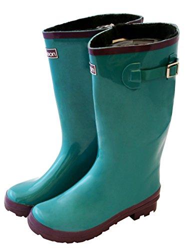 Jileon Wide Calf All Weather Strapazierfähige Gummi-Regen-Stiefel für Frauen-Soft & Flauschige Futter auf der Innenseite passt Wadengrößen bis zu 18 Zoll Glänzendes Blaugrün